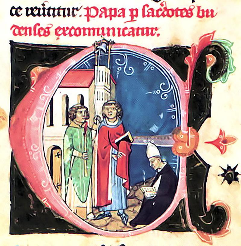 A budai papok Petermann bíró vezetésével kiátkozzák a pápát. A földön ülő alak Miklós bíboros, a későbbi XI. Benedek pápa