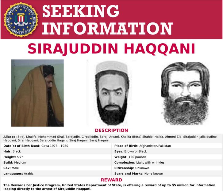 Az FBI körözési listáján szerepel Sziradzsuddin Hakkáni