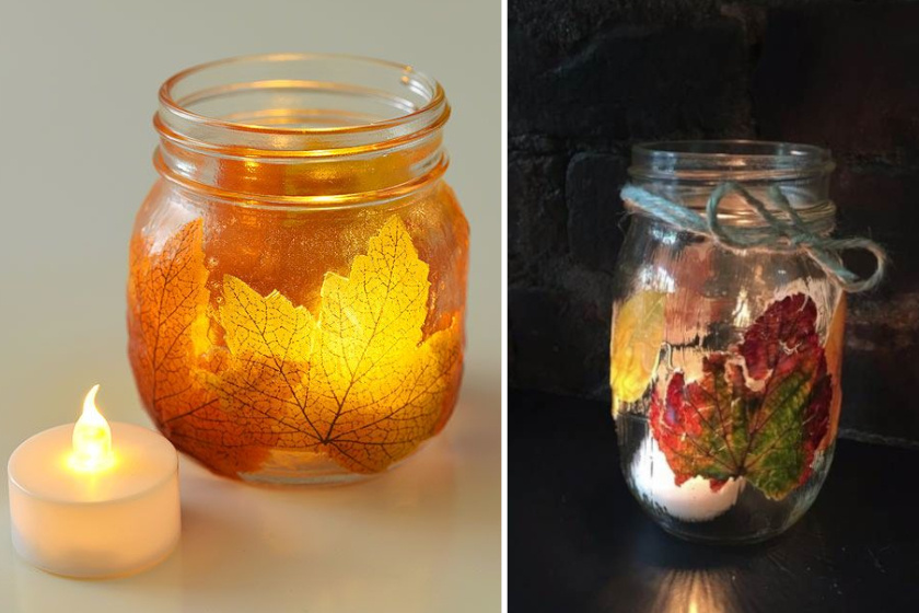 Egy befőttesüveg és pár falevél kombinációjával látványos mécsest hozhatsz létre. A leveleket áztasd pár napig glicerines oldatban - ezt az összetevőt a patikában tudod beszerezni, 1:2 arányban elegyítsd vízzel. Ezután egyszerűen decoupage-ragasztóval helyezd fel őket a kívánt üveg oldalára.