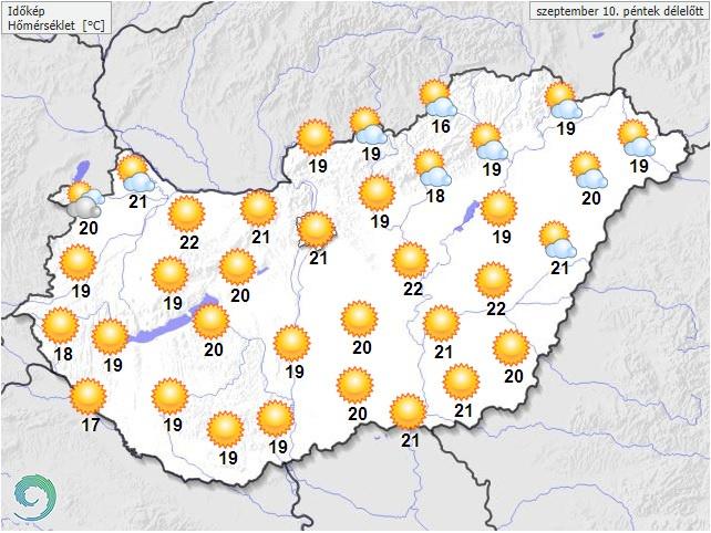 Várható hőmérséklet péntek délelőtt