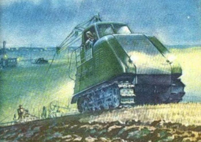 Korabeli propagandaplakát a KhTZ-12-esről, amelyet a képen természetesen egy nő vezet