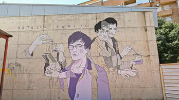 Falra festették Valenciában Karikó Katalint