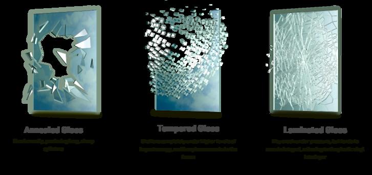Balról jobbra: Hagyományos (lassan hűtött), hőkezelt és laminált azaz biztonsági üveg.