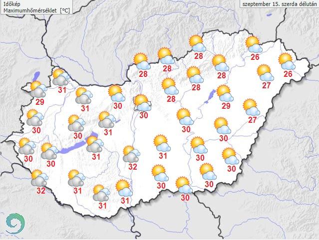 Várható hőmérséklet szerda délután