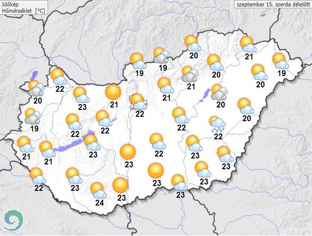 Várható hőmérséklet szerda délelőtt