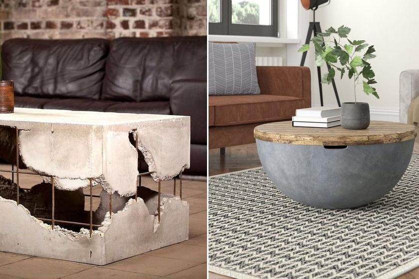 Ez a két nappaliasztalka nagyszerű példa arra, hogy mennyire sokoldalú alapanyag a beton: az egyik egy romos gyárépületet idéz, a másik letisztult félgömbforma tárolós darab fával kombinálva.
