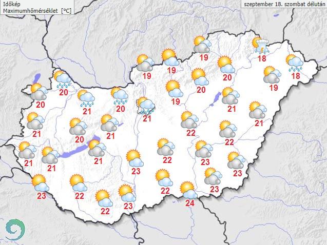 Várható hőmérséklet szombat délután