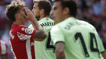 Emberhátrányban vesztett pontokat a címvédő Atletico Madrid