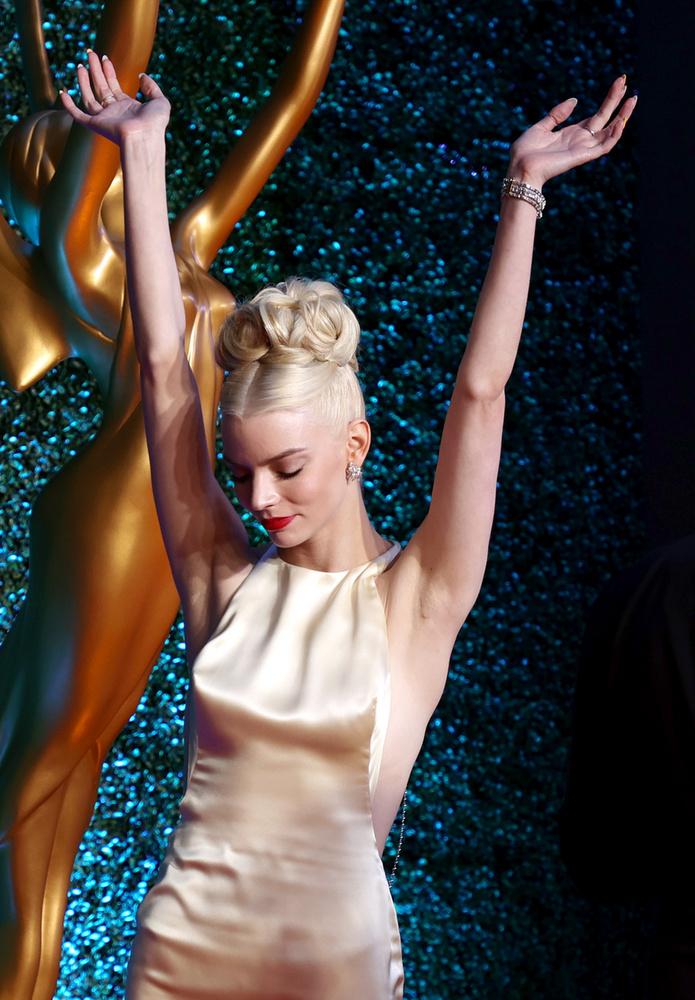 Az alkalomra egy Dior haute couture estélyit választott, melyhez ő sem húzott melltartót
