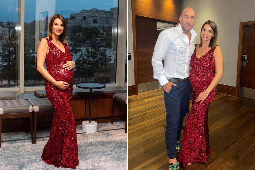 Berki Mazsi nyolc hónapos terhesen, a Miss Queen Hungary Szépségverseny 2021. augusztus 29-én megrendezett döntőjének vendégeként viselte a bordó, flitteres estélyi ruhát.