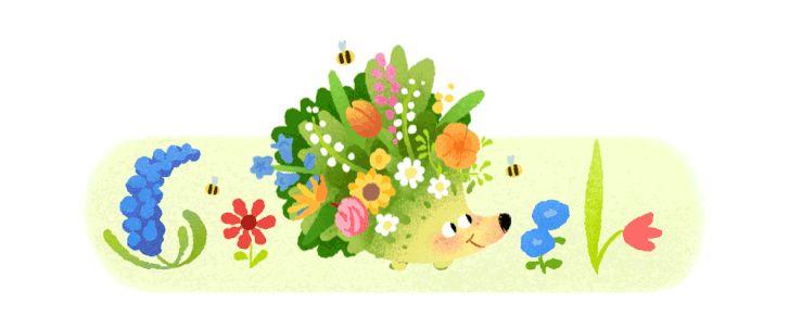 A déli félteke tavaszát ünneplő Google doodle sün (2021. szeptember 22.)