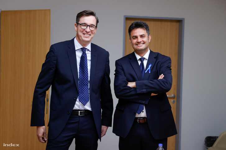 Karácsony Gergely és Márki-Zay Péter az ellenzéki miniszterelnök-jelöltek vitája előtt, 2021. 09. 12-én