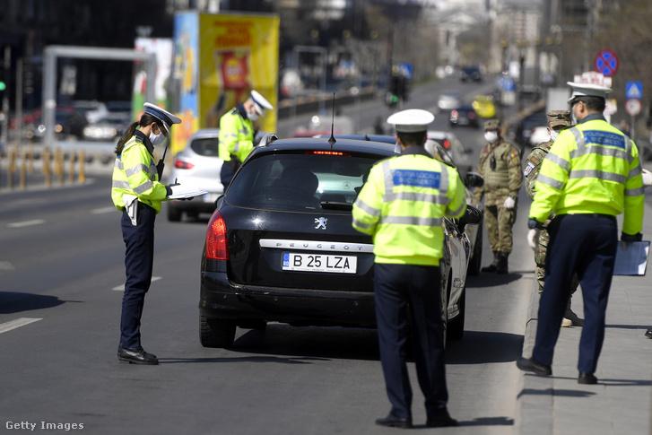 Rendőri ellenőrzés Romániában 2020-ban
