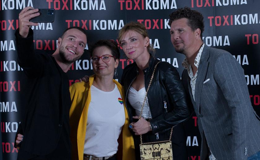 Molnár Áron, Duda Éva, Borbély Alexandra és Nagy Ervin a Toxikoma budapesti díszbemutatóján.