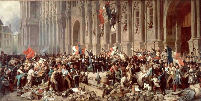 Lamartine a párizsi Városháza előtt mond beszédet 1848-ban