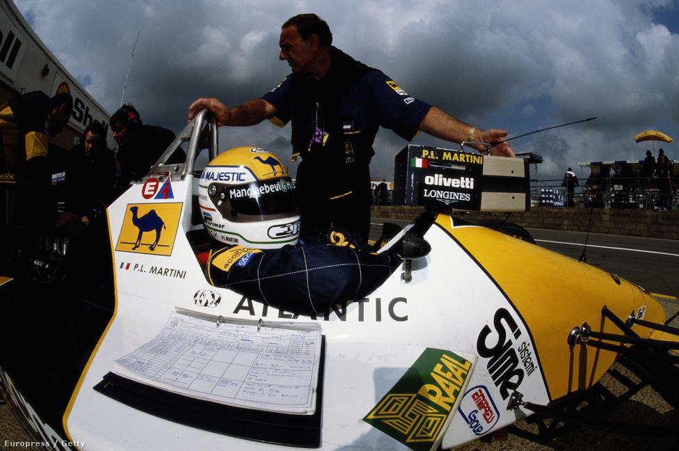 Pierluigi Martini az F1 legtovább élt kiscsapatának, a Minardinak egyik pilótájaként a 89-es Brit GP-n, Silverstone-ban.