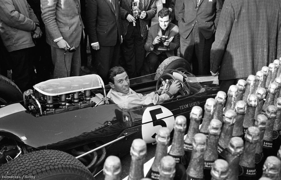 Jim Clark második világbajnoki évében, 1965-ben Brands Hatch-ben, Angliában