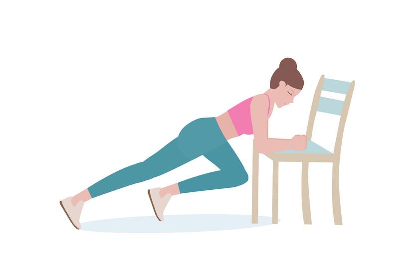 Ezt a gyakorlatot hegymászópóznak nevezik, és alaposan megdolgoztatja az oldalsó hasizmot. Helyezd az alkarod a szék ülőrészére, a lábaid legyenek egyenesek, és tartózkodj spiccen. Hajlítsd be az egyik lábadat, és érintsd meg a térdeddel a széket, majd tedd vissza, és válts lábat. Végezz 2x30 emelést.