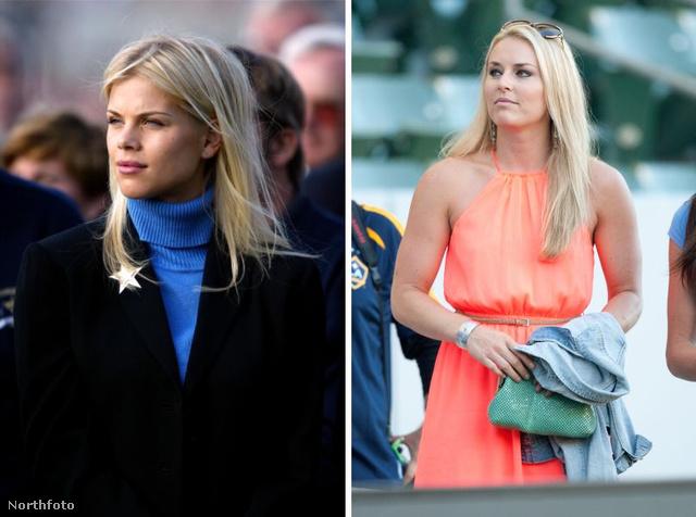 Bal oldalon az exnej, Elin Nordegren, jobbon Lindsey Vonn