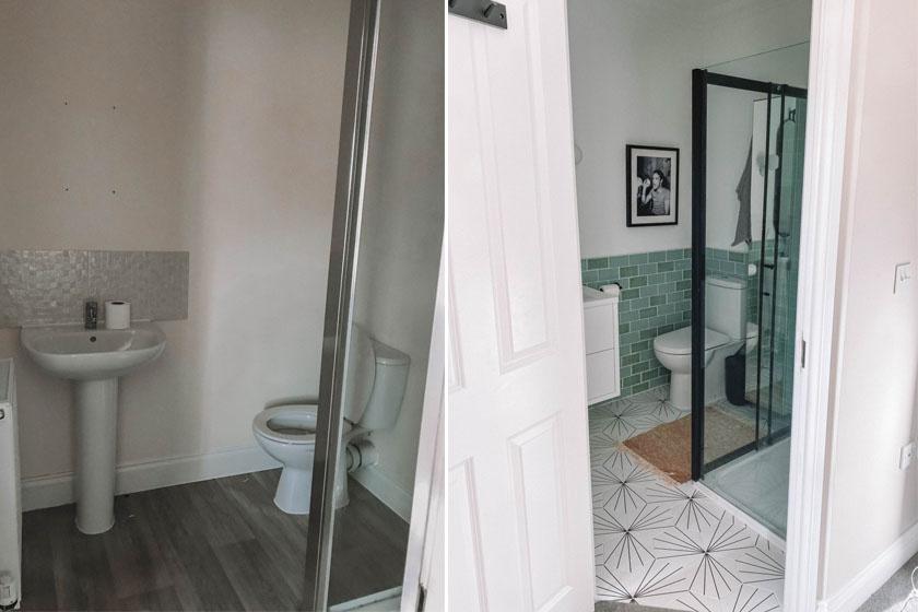 Ezzel a rendkívül sivár, minden dekorációt nélkülöző fürdővel a mesés, zöld színű csempe és a mintás padló tett csodát. A leheletnyi fekete-fehér kontraszt fiatalossá tette a helyiséget.