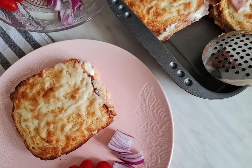 sajtos sonkás bundáskenyér