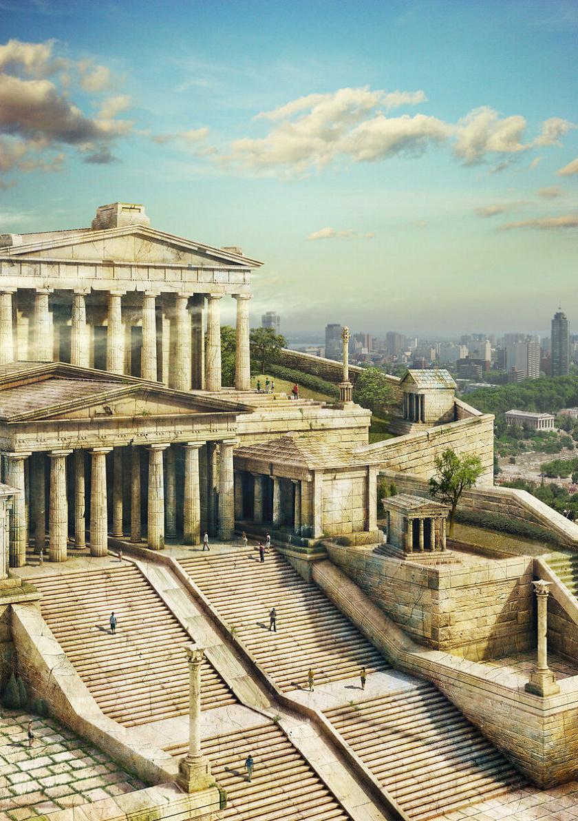Az Athénban található Akropolisz egy meredek sziklára épült 150 méteres tengerszint feletti magasságban. Az épület még ma is viszonylag jó állapotú annak ellenére is, hogy 1687-ben a velenceiek megtámadták. A művész szerint ilyen lenne, ha ma is úgy nézne ki az épületegyüttes, mint eredeti állapotában.