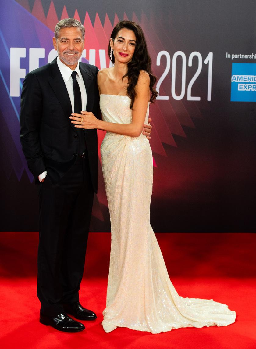 Amal Clooney elkísérte férjét a 65. alkalommal megrendezett BFI London Filmfesztiválra.