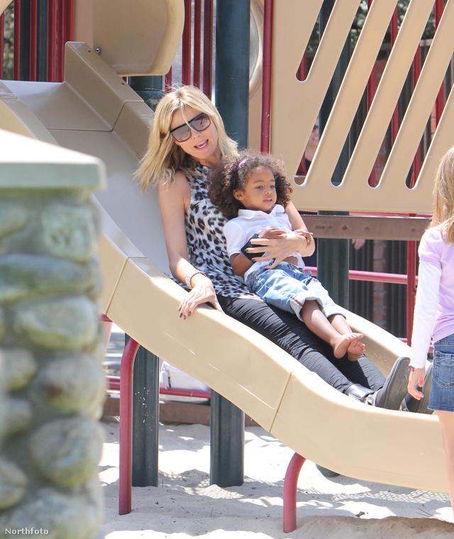 Heidi Klum mind a négy gyerekét magával vitte a Beverly Hills-i Coldwater Parkba játszani, a képen csak lányával, Louval látható