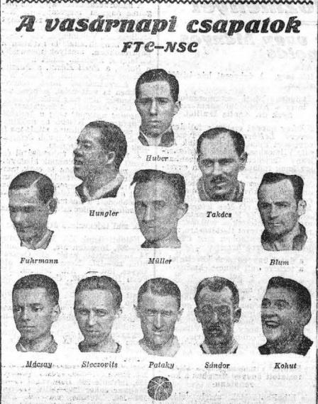Az 1926-os bajnokságot eldöntő Fradi-NSC-n így állt fel az FTC. Forrás: Az Est, digitalizálva az epa.oszk.hu-n.