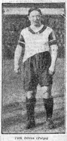 A Fradi legendás csatára, a 164 centis, 78 kilós Tóth István Potya Az Est 1926. április 4-i számában. Forrás: epa.oszk.hu
