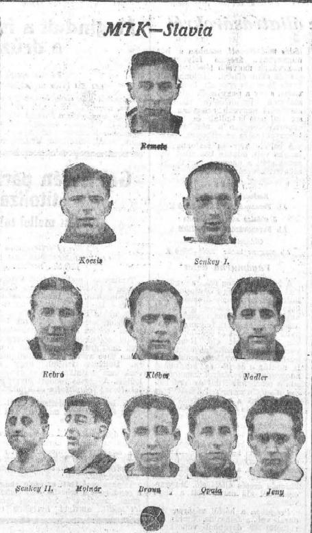 Klasszikus 2-3-5 felállásban. Az 1914 és 1925 között minden magyar bajnoki címet elnyerő MTK kezdője a Húsvét-kupán, a Slavia ellen. A kép Az Estben jelent meg 1926 április 4-én. Forrás: epa.oszk.hu