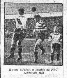 Az 1926-os bajnoksgot eldöntü FTC-NSC meccs egyik jelenete Az Estből. Forrás:epa.oszk.hu