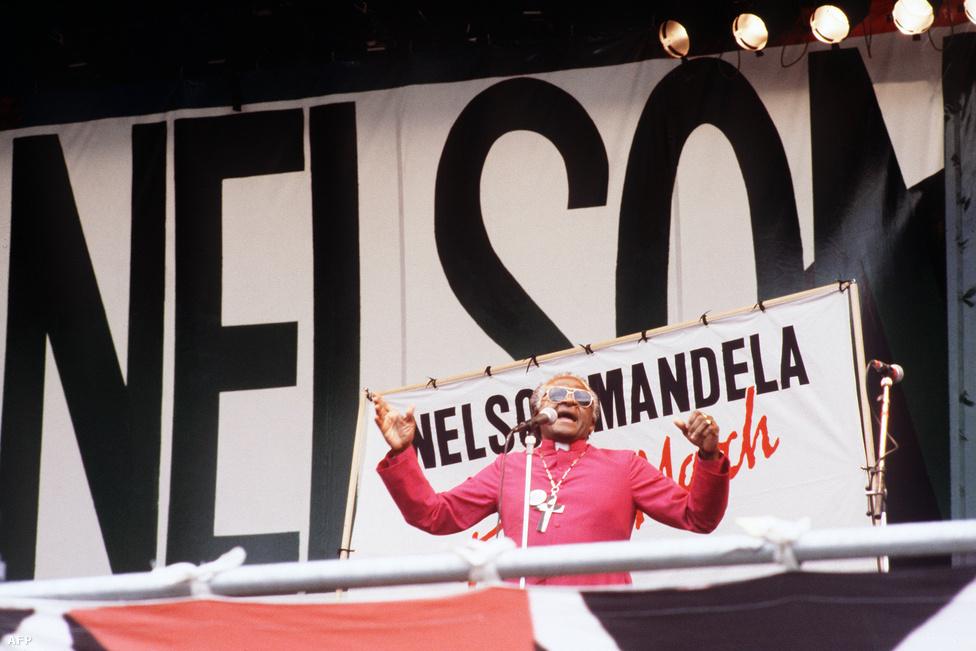 Desmond Tutu dél-afrikai érsek a Mandela kiszabadításáért szervezett gyűlésen 1988-ban a londoni Hyde Parkban, egy nappal a bebörtönzött aktivista 70. születésnapja előtt.