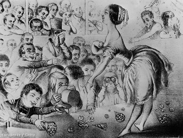 Lola Montez fellépésről készült rajz az 1840-es évekből
