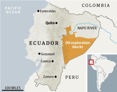 Ecuador kiaknázatlan olajlelőhelyei az őserdő alatt (Forrás: Guardian)