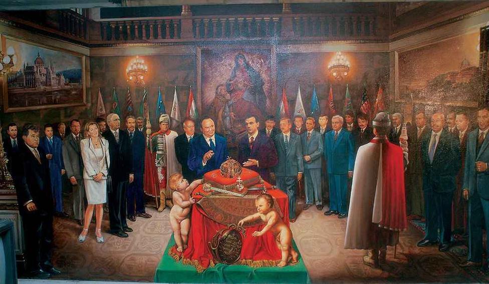 """A """"Millenniumi magyar kormány a Korona évében"""" című festményt 2000-ben festette meg Róth István. Az amatőr művész állítása szerint a hatalmas, 2,60 x 5 méteres képet Nemeskürty István millenniumi kormánybiztos megrendelésére készítette, de ezt az érintett tagadta. A Fidesz 1998-tól kezdődve tudatosan törekedett az egységes kormányzati imázs kialakítására. Erre jó alkalmat szolgáltatott az államalapítás kétezredik évfordulója, melynek ünneplése összemosódott a Fidesz """"nemzeti"""" pártként való újrapozícionálásával."""