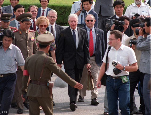 Jimmy Carter Észak-Koreában1994. június 18-án