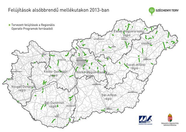 A 2013-ban felújításra kijelölt útszakaszok a Magyar Közút Zrt. térképén