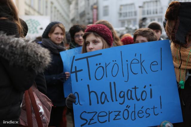 Diáktüntetés a felsőoktatás tervezett átalakításai ellen, 2013. február 11-én