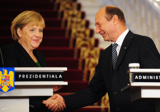Angela Merkel és Traian Basescu