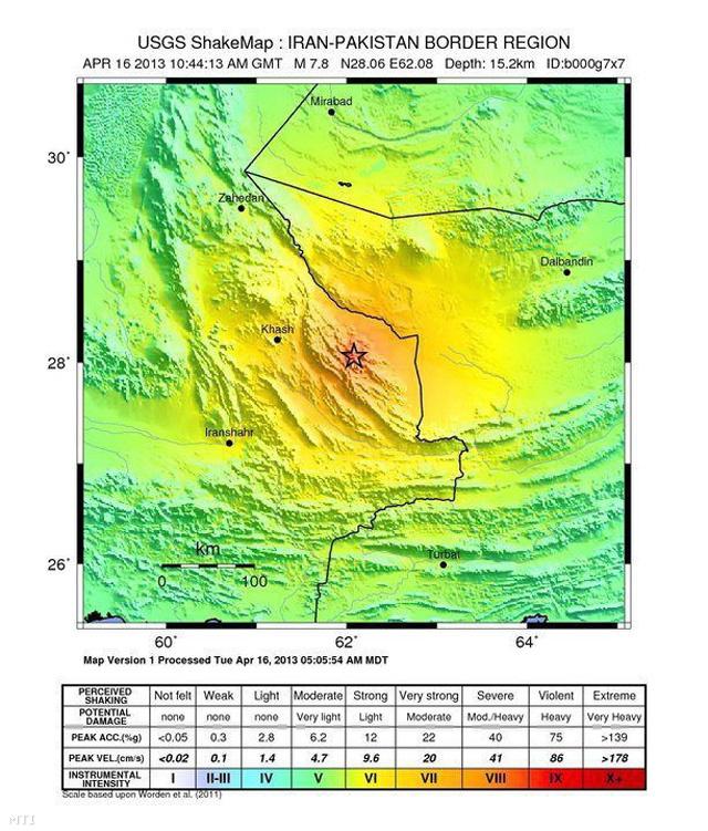 Az amerikai földtani intézet (USGS) által közreadott térkép egy nyolcas erősségű földrengés epicentrumáról Irán Pakisztánnal határos térségében