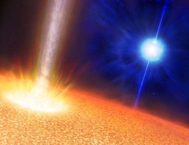 Fantáziarajz gammavillanást produkáló objektumokról. A kék csillag a sztenderd hosszú gammavillanás progenitora, egy Wolf-Rayet csillag, melynek tömege a Napénak 10-20-szorosa, sugara azonban összemérhető központi égitestünkével. Az előtérben látható csillag az ultrahosszú gammavillanás vélt szülőobjektuma, melynek tömege a Napénak szintén mintegy 20-szorosa, mérete azonban ezerszer nagyobb. Mindkét esetben jet-ek okozzák a gammavillanást, a szuperóriás csillag azonban sokkal hosszabb élettartamú kifúvásokat generál.