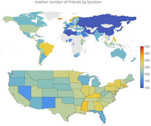 Barátkozó, és kevésbé barátkozó népek a világban (forrás: Wolfram Alpha)