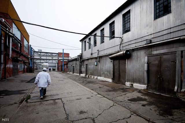 Egy dolgozó sétál a kapuvári húsüzem udvarán. A gyár eladósodottsági mutatója a múlt évben háromszorosa volt az előző évinek.