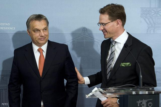 Orbán Viktor miniszterelnök és Jyrki Katainen finn kormányfő sajtótájékoztatót tartanak tárgyalásuk után Helsinkiben.