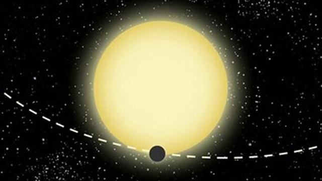 A Kepler-76b bolygó illusztrációja. A rendszert a súroló fedés miatt korábban tévesen fedési kettőscsillagként azonosították.