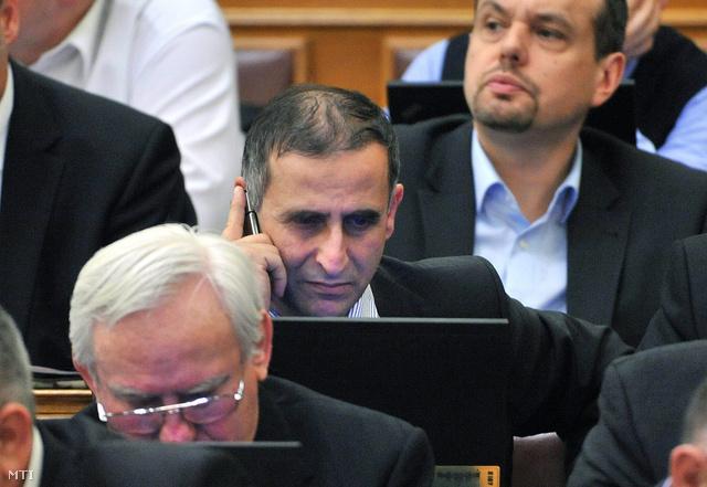 Daher Pierre fideszes képviselő telefonál az Országgyűlés plenáris ülésén 2013. február 25-én.