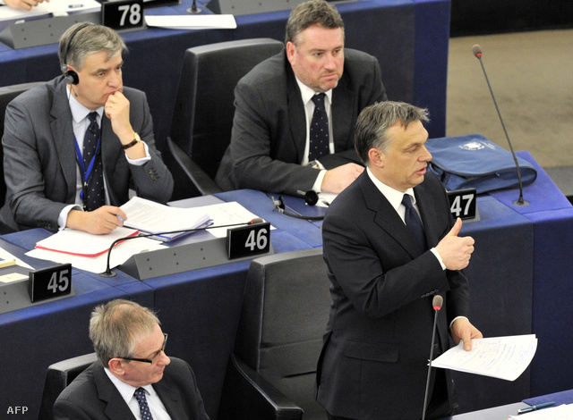 Orbán Viktor az Európai Parlament plenáris ülésén, 2012. január 18-án