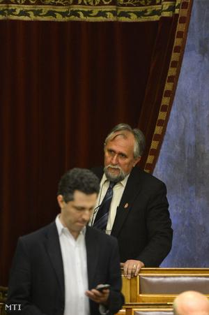 Ángyán József, a Fidesz képviselője érkezik az Országgyűlés plenáris ülésére 2013. május 27-én.