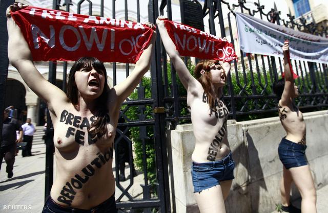 A Femen Tunéziában is tüntetett